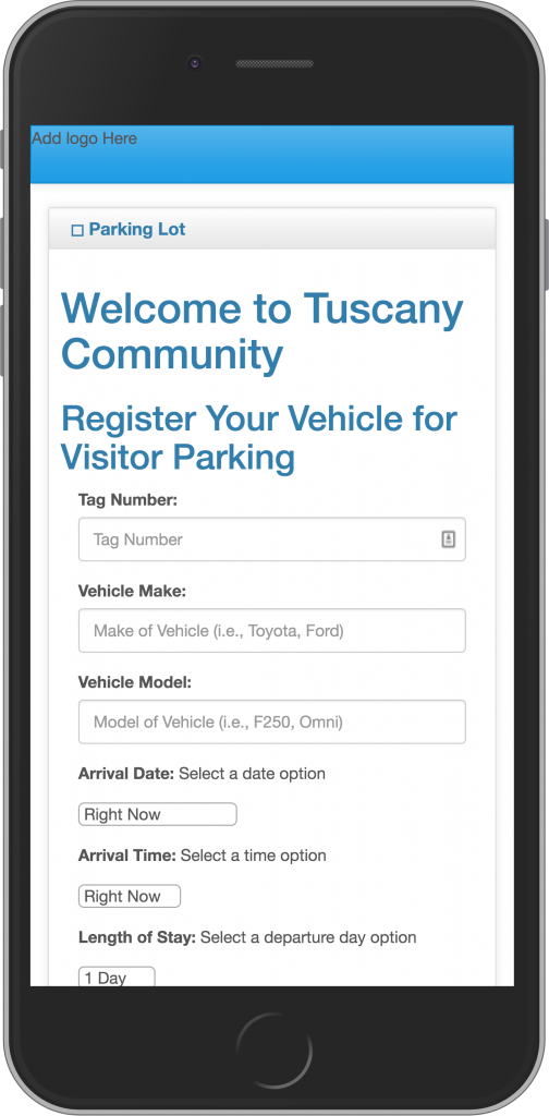 Tuscany Community Register My Guest Mobile Interface